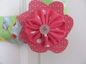 Square Wreath with Fabric Flowers