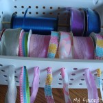 Organized Ribbon and Cookie Sheet Magnet Board
