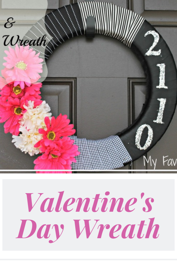 Ribbon, glitter, and flowers make this pretty Valentine's Day wreath for your front door! #valentinesday #diy #homedecor