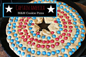 Captain America M&Ms Cookie Pizza