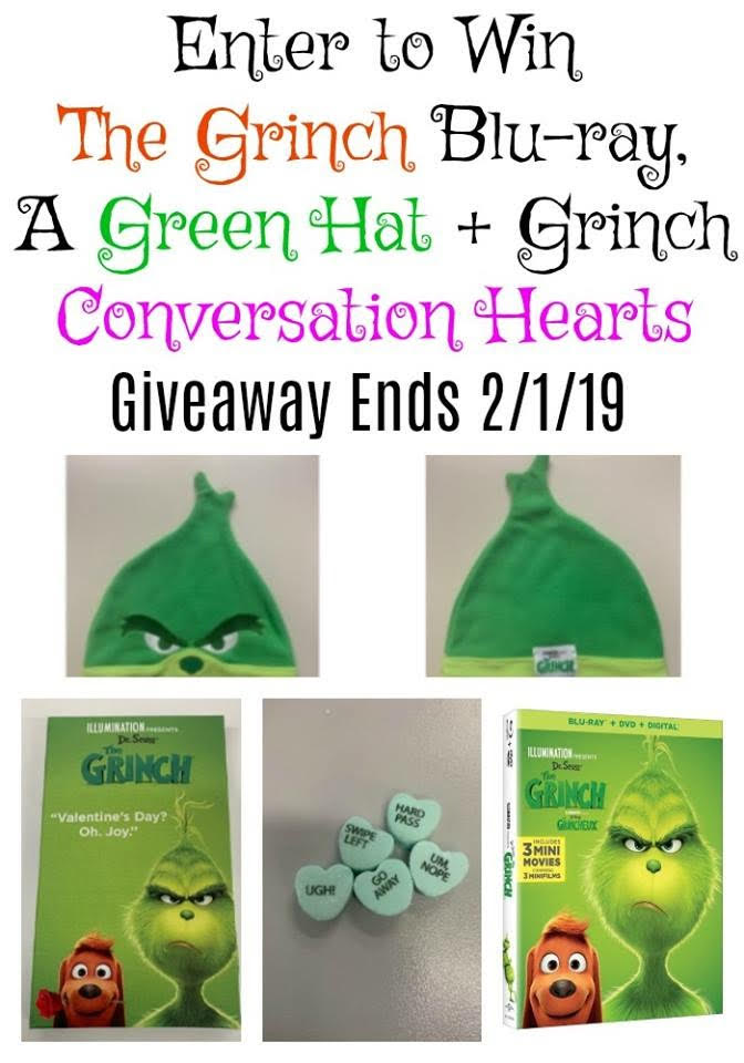 The Grinch Blu-Ray, Green Hat, and Conversation Heart Giveaway