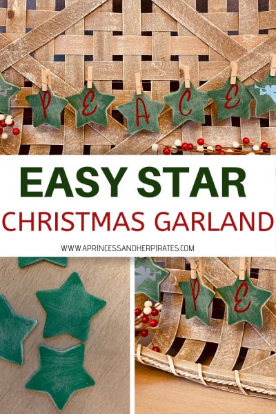 This easy Christmas garland will be the perfect addition your holiday decor! This mini star garland is an easy way to dress up small spaces and give them some Christmas flair. #christmasdiy #christmasdecor #christmasgarland #peace #holidaycrafts