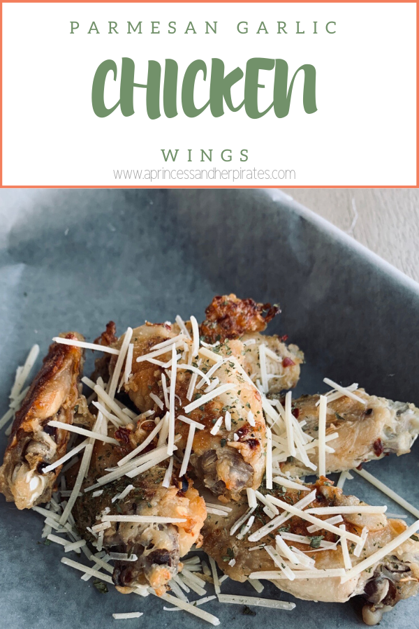 Parmesan Garlic Chicken Wings are baked, a better for you party food, and easy! #appetizers #partyfoods #chickenwingrecipes #chickenwings
